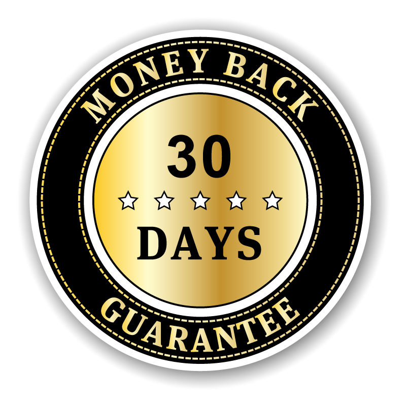 Money back guarantee badge EN